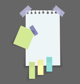 Autocollants de notes de papier. place pour les messages mémo sur des feuilles de papier.