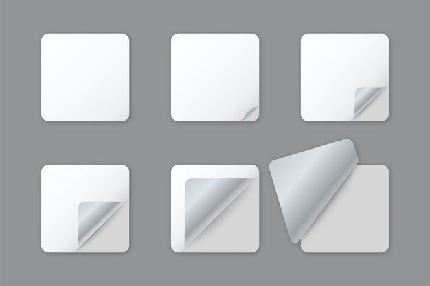 Autocollants en papier carré arrondi blanc vierge avec coin recourbé