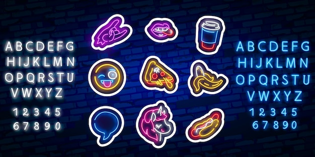 Autocollants pop art. patchs, épinglettes et badges pop art. enseigne au néon, emblème.