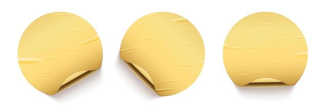 Autocollants ronds collés dorés avec ensemble de curling au dos doré