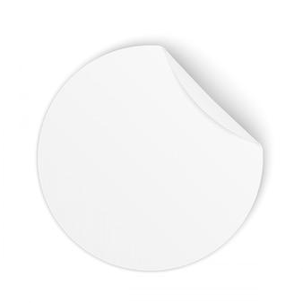 Autocollants ronds en papier adhésif avec coin incurvé.
