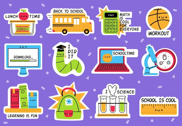 Autocollants scolaires. retour à l'école, insignes d'éducation, fournitures scolaires ensemble isolé autocollant dessiné à la main