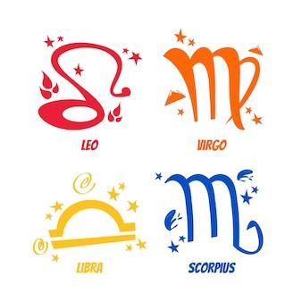 Autocollants de signe astrologique de dessin animé rétro