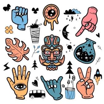 Autocollants style de tatouage doodle dessinés à la main