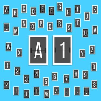 Autocollants de tableau de bord alphabet lettres et chiffres noirs. concept de conseil à l'aéroport et résultats sportifs. isolé sur fond bleu. illustration vectorielle de style plat design moderne tendance