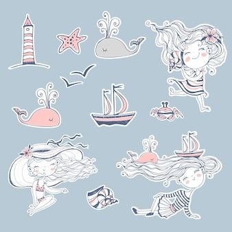Autocollants sur le thème de l'été et de la mer.