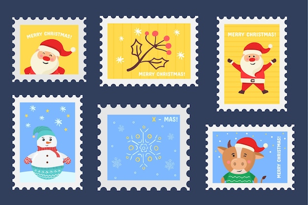 Autocollants de vacances de timbre de noël dans un ensemble de timbres-poste de conception dessinés à la main de cachets de noël
