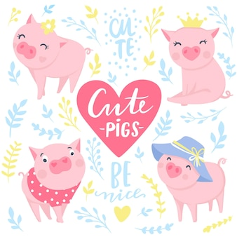 Autocollants vectoriels mignons avec des cochons roses drôles. éléments pour la conception du nouvel an. symbole de 2019 sur le calendrier chinois. illustration de cochon isolée sur blanc. insignes d'animaux de dessin animé.