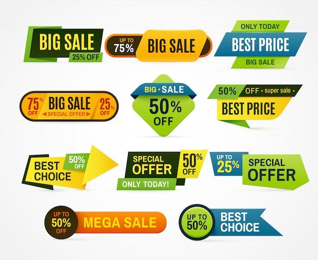 Autocollants de vente. étiquette de prix.