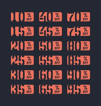 Autocollants de vente pour cent de remise offre ensemble de modèles de conception typographique isolé sur fond. nouveaux prix plus bas soldes 10, 15, 20, 25, 30, 35, 40, 45, 50, 55, 60, 65, 70, 75, 80, 85, 90, 95