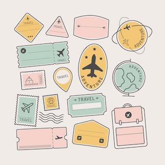 Autocollants de voyage et jeu de badges