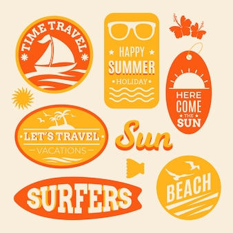 Autocollants de voyage plage d'été dans le style des années 70