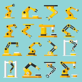 Automation conveyor orthogonal flat icons set