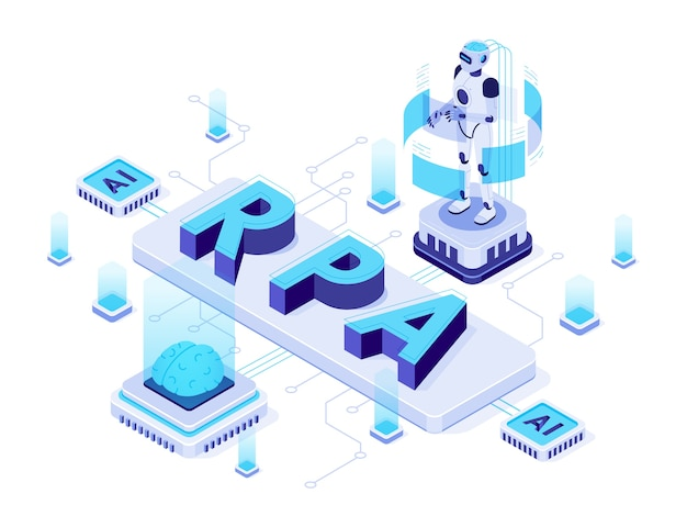 Automatisation robotique des processus, robots d'intelligence artificielle futuristes et apprentissage de l'ia.