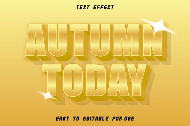 Automne aujourd'hui effet de texte modifiable gaufrage style or