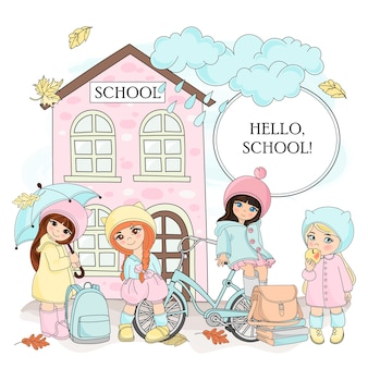 Automne couleur vector illustration set hello school