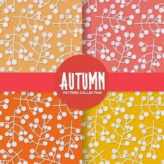Automne fond de papier floral avec des baies sur fond coloré