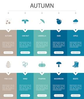 Automne infographie 10 option ui design.oak nut, pluie, vent, icônes simples de citrouille