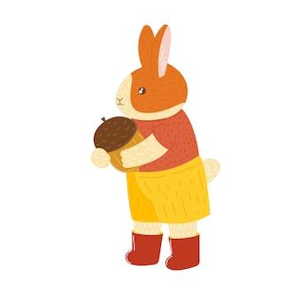 Automne lapin garçon mignon dessin animé lièvre lapin avec gland animal forestier dessiné à la main