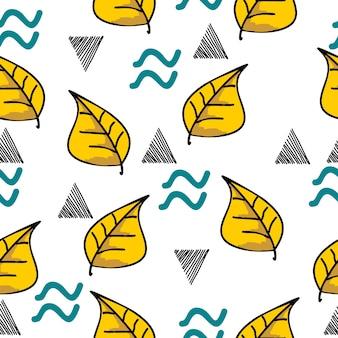Automne main dessinée laisse modèle sans couture avec géométrique
