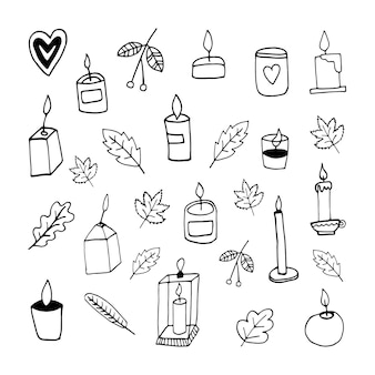 Automne mignon doodle sertie de bougies rowen laisse illustration vectorielle dessinés à la main