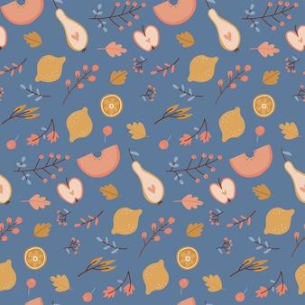 Automne modèle sans couture chute feuilles pommes poires citron automne récolte fond saisonnier pour wa ...