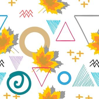 Automne motif floral avec résumé géométrique de memphis