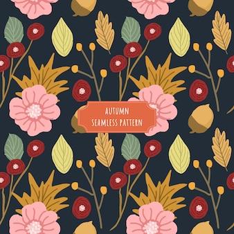 Automne motif floral sans couture avec fond sombre