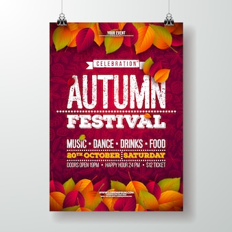 Automne party flyer illustration avec la chute des feuilles et la conception de la typographie