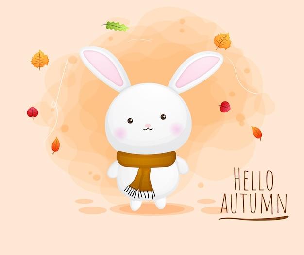 Automne de personnage de dessin animé mignon lapin