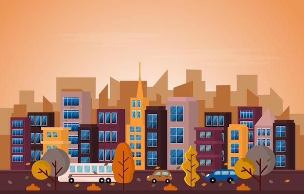 Automne Saison Automne Ville Rue Bâtiment Vue Paysage Urbain Illustration Design Plat Vecteur Premium