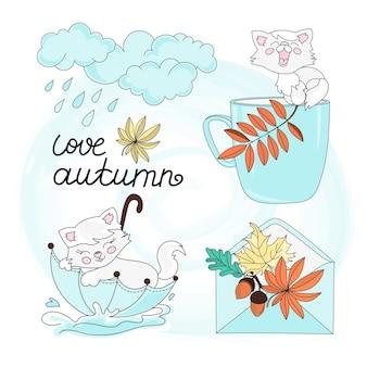Automne vector illustration set