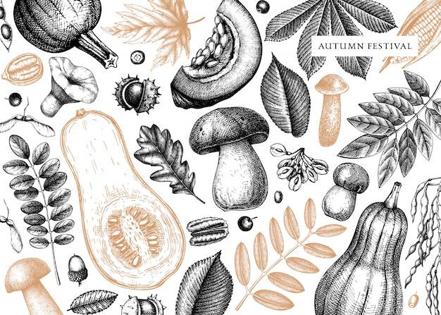 Automne vintage avec des feuilles d'automne dessinées à la main, citrouilles, baies, illustrations de champignons. parfait pour l'invitation, les cartes, les dépliants, le menu, l'étiquette, l'emballage.