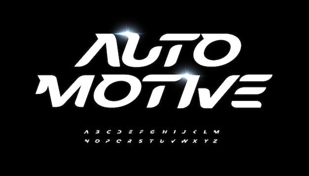 Automobile alphabet lettre police logo moderne typographie vitesse course et vecteur de sport actif