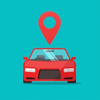 Automobile avec marqueur de pointeur de carte en ligne comme signe de localisation
