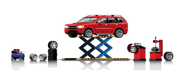 Automobile sur palan pour service de réparation et d'entretien