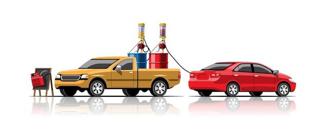 Automobile, remplissage de carburant avec réservoir de baril de pompe à main sur ramasser