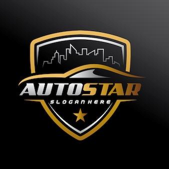 Automobile, voiture de ville, service de voiture, salle d'exposition de voiture, réparation de voiture et logo automobile de vitesse