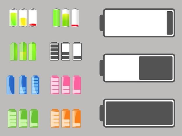 Autonomie de la batterie batterie icônes vectorielles