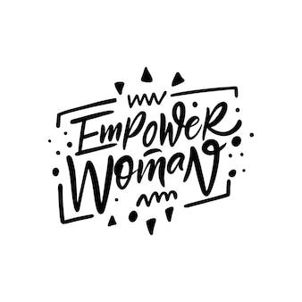 Autonomiser la femme main dessinée phrase de motivation de couleur noire lettrage illustration vectorielle