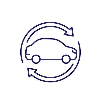 Autopartage, icône de service de location, vecteur de ligne