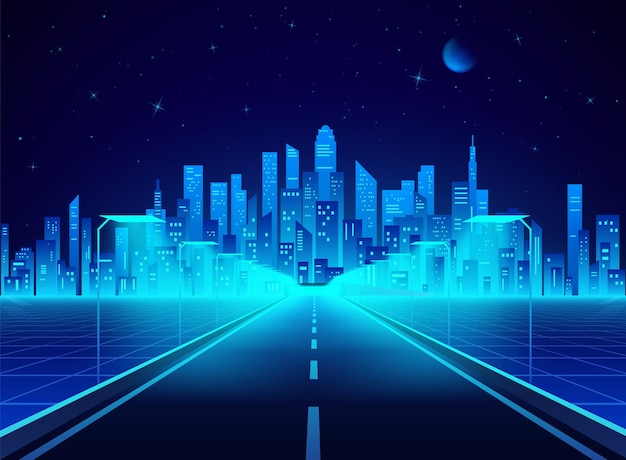 Autoroute vers la ville futuriste cyberpunk