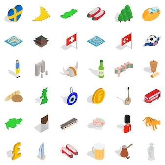 Autour du monde icônes définies, style isométrique