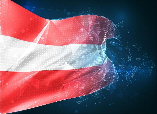 Autriche , drapeau vectoriel, objet 3d abstrait virtuel à partir de polygones triangulaires sur fond bleu