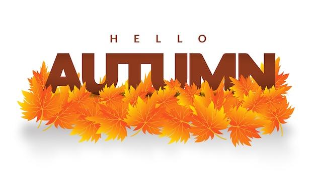 Autum quitte hello design de bannière d'automne