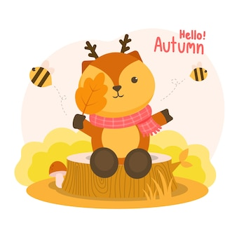 Autumm était heureux avec le cerf tenant les branches sur les souches et les abeilles qui volaient.