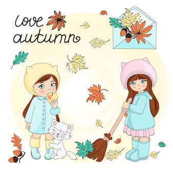 Autumn leaves vector illustration set