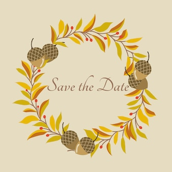 Autumn leaves wreath et save the date text. utilisez pour l'invitation.