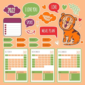Autumn tiger planner 2022 calendrier et collection de modèles avec des éléments de conception