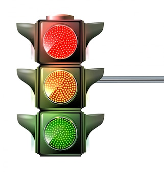 Aux feux tricolores, les trois couleurs sont allumées en même temps: rouge, jaune et vert.